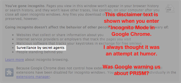 Google's warning about PRISM in Chrome?